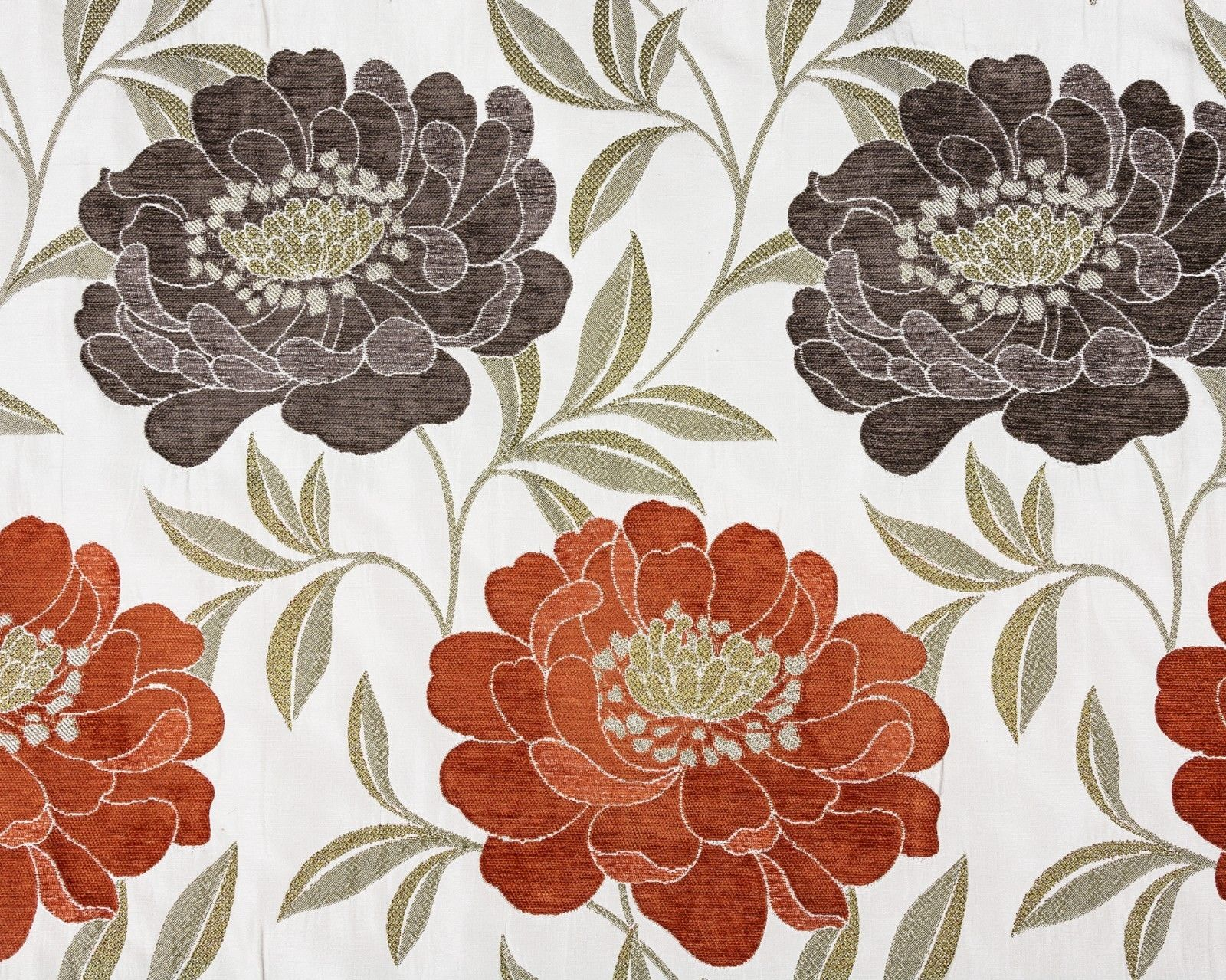 Eden Rose Floral Embossed Design Pattern Chenille Curtain Fabric Material Woven
