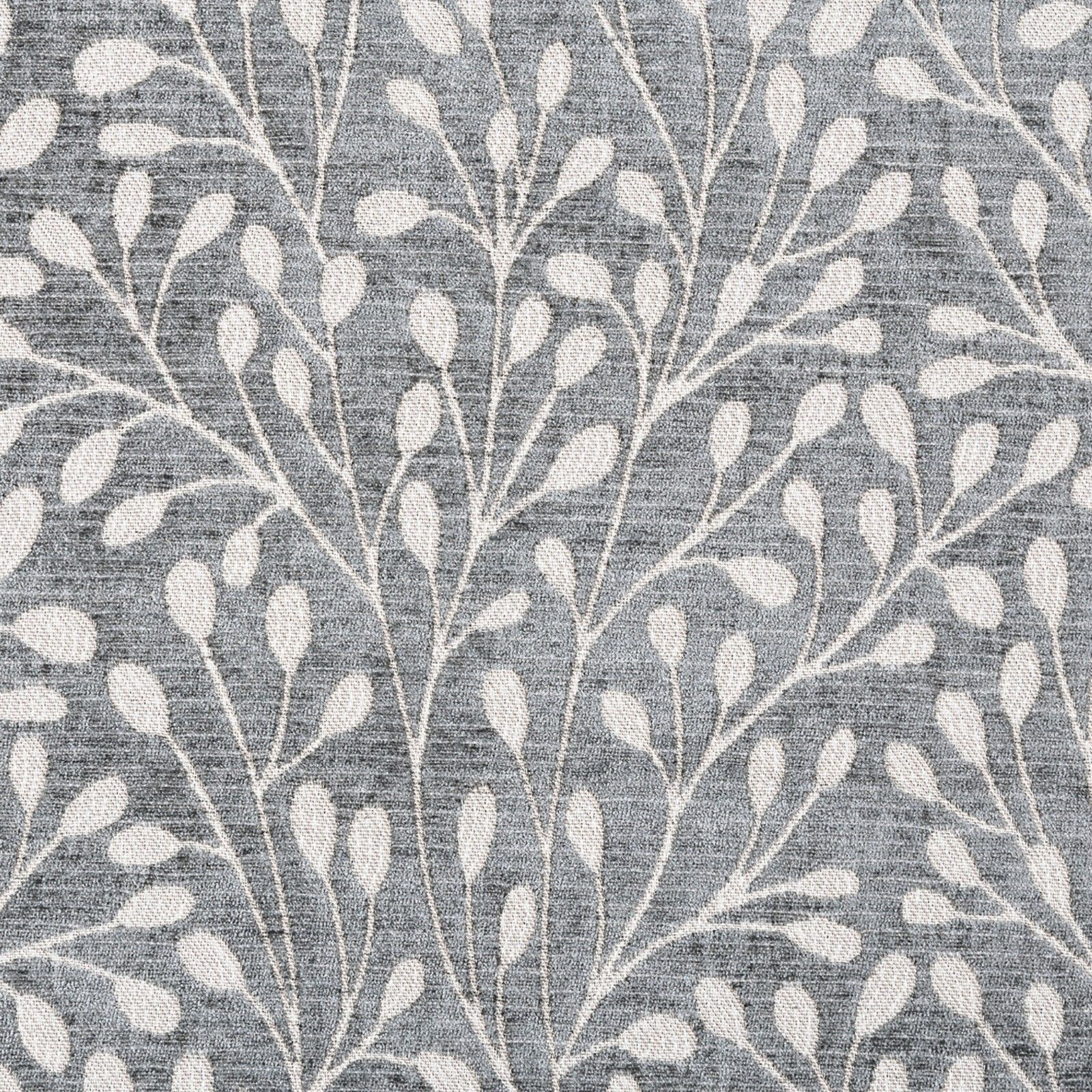 New Berry Tree Grey Leaf Design Woven Pattern Soft Chenille Curtain Fabric Thick