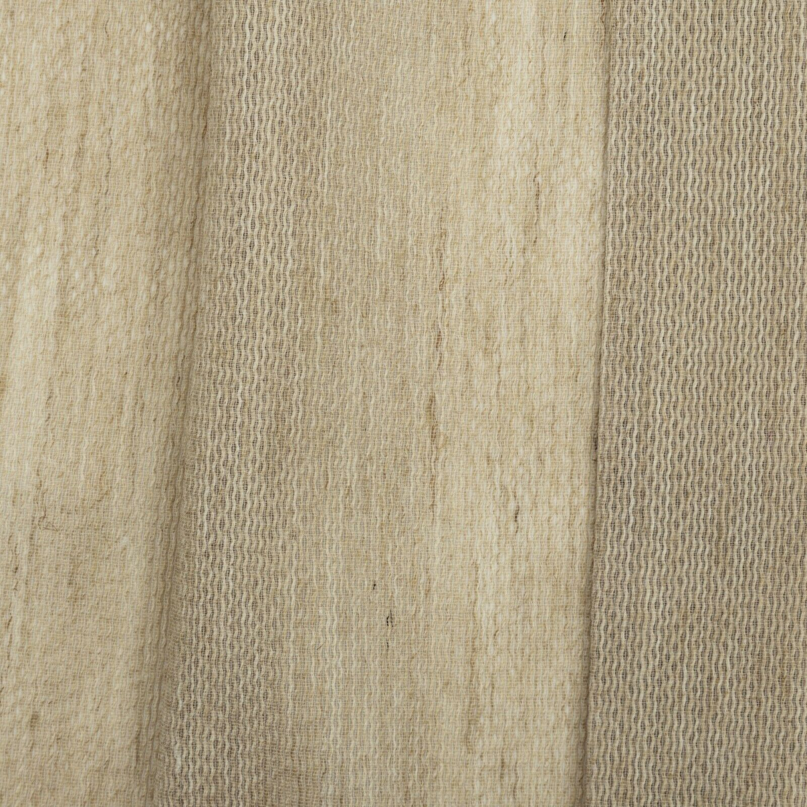Natural Beige Textured Linen Striped Voile Sheer Curtain